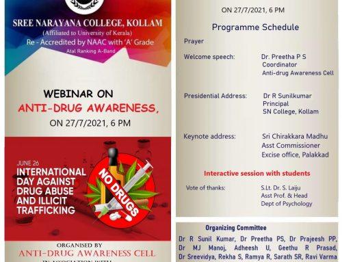 Webinar on Anti-Drug Awareness on 27/07/21